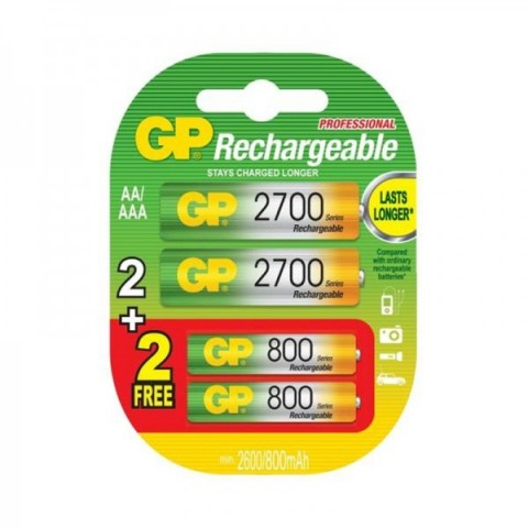 Acumulator AA (R6) NiMH 2700mAh 2 buc + acumulator AAA 800mAh 2 buc/blister