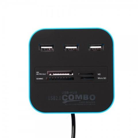 Cititor carduri MS PRO, SDHC, microSD si M2 cu hub USB 3 porturi