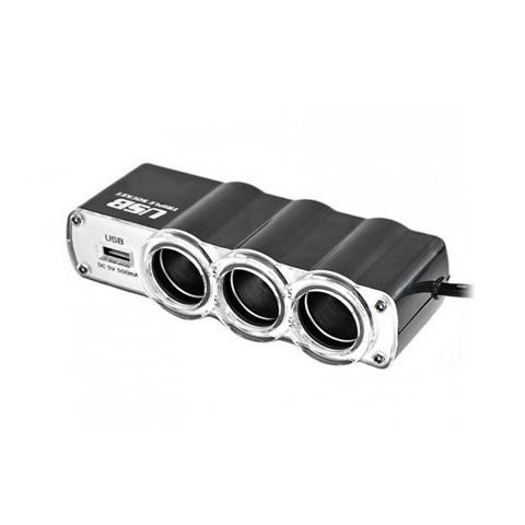 Splitter x 3 pentru bricheta auto, cu port incarcare USB