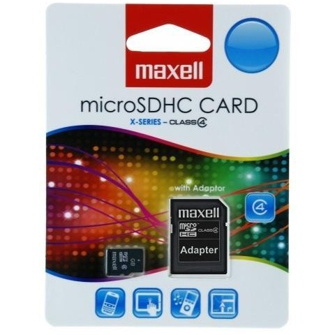 Card micro SD Maxell, 4GB, clasa 4, cu adaptor