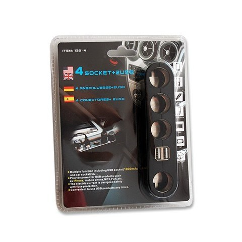 Spliter x 4 pentru bricheta auto, cu 2 porturi incarcare USB