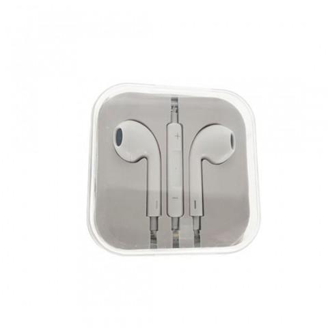 Casti in ear cu microfon pentru telefon white, cutie din plastic