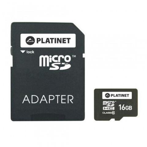 Card Platinet microSDHC 16 Gb clasa 10 cu adaptor