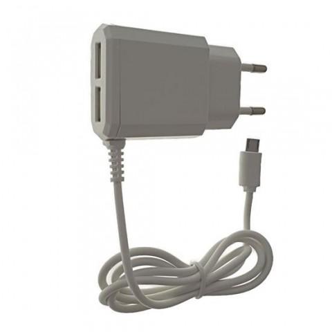 Incarcator retea cu cablu micro USB 3.1A, 2xUSB,alb