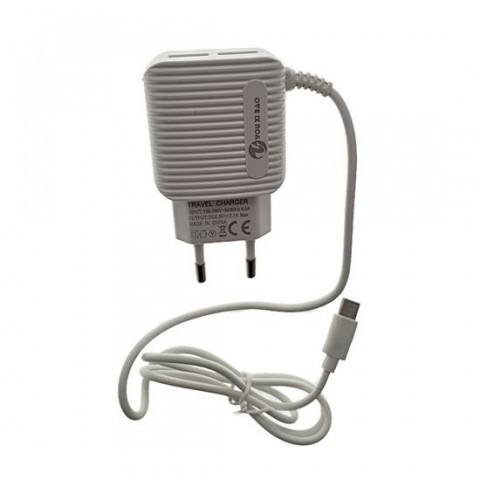 Incarcator retea cu cablu type-C 3.1A, 2xUSB,alb