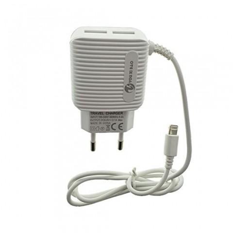 Incarcator retea cu cablu lightning 3.1A, 2xUSB,alb