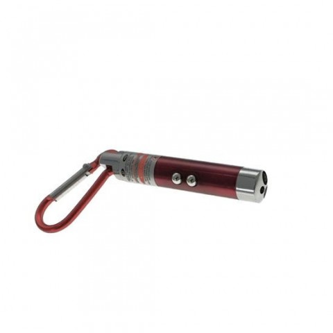 Lanterna tip breloc cu 2 led-uri si laser pointer rosu