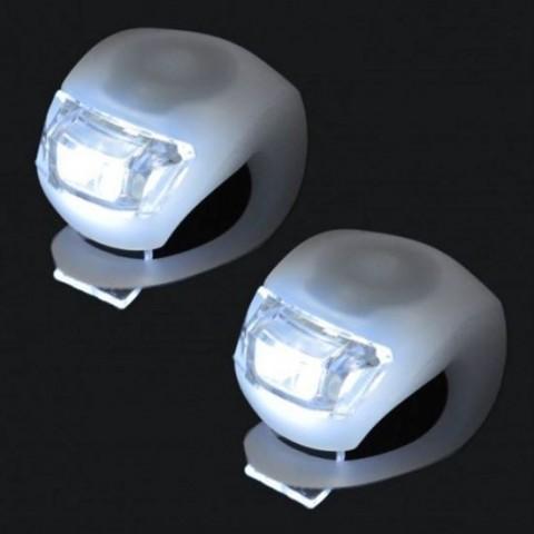 Set 2 lampi cu led KJ-008-2,cu carcasa siliconica,pentru bicicleta,albe