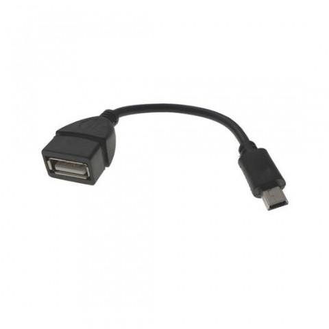 Cablu OTG USB mama - mini USB 5P tata 10 cm, negru