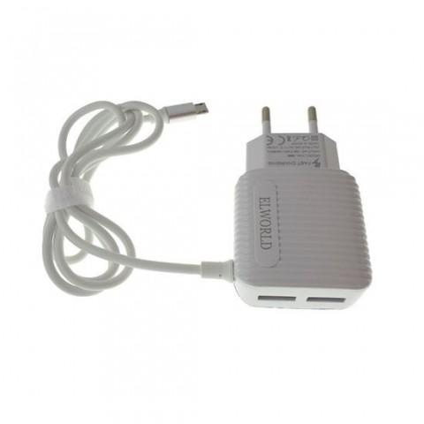 Incarcator de retea XML-888,2.1A,cu cablu micro USB si 2 porturi USB