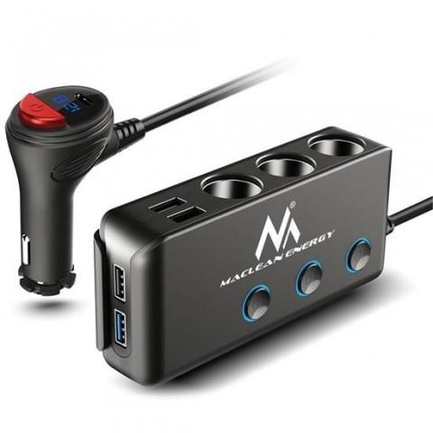 Multiplicator MCE218,cu 3 porturi bricheta auto 120W,4 USB,incarcator auto cu USB tip C 18W,voltmetru - MCE218