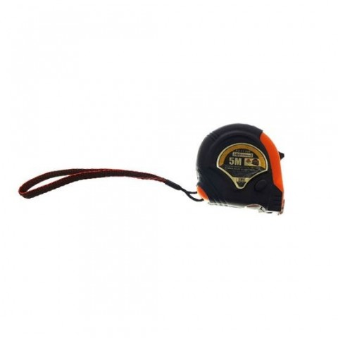 Ruleta metalica FS-11598, 5m x 19mm,cu buton blocare,clema prindere,neagra cu portocaliu