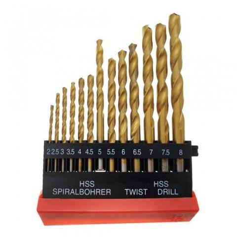Set 13 burghie HSS Titan,DIN 338,pentru metal,de la 2 la 8mm,FAE-30768