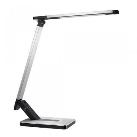 Lampa de birou Platinet 44394, 6W, dimabila, cu control tactil, incarcare USB, metal gri