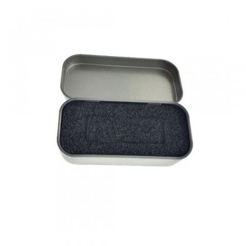 Cutie personalizabila Platinet Pendrive Box 45173, 80x40x20mm, pentru memorie USB, metalica, inchidere tip carte, argintie - PBOX19