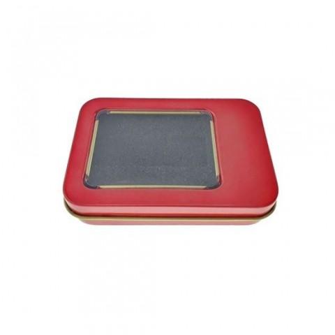 Cutie personalizabila Platinet Pendrive Box 45166, 87x60x18mm, pentru memorie USB, metalica, capac cu fereastra, rosie - PBOX13