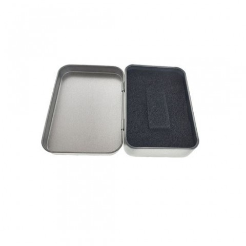 Cutie personalizabila Platinet Pendrive Box 45168, 87x60x18mm, pentru memorie USB, metalica, inchidere tip carte, argintie - PBOX15