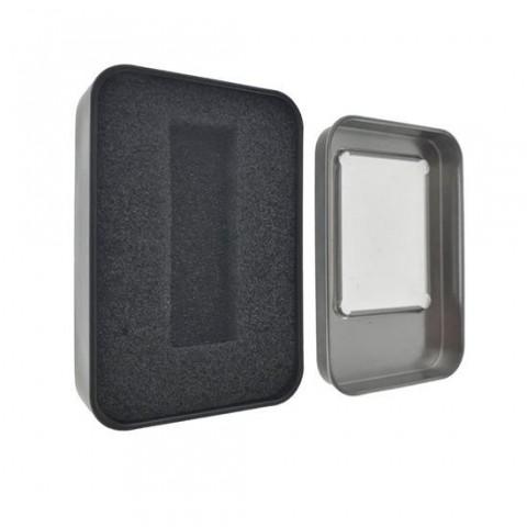Cutie personalizabila Platinet Pendrive Box 45165, 87x60x18mm, pentru memorie USB, metalica, capac cu fereastra, neagra - PBOX12