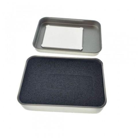 Cutie personalizabila Platinet Pendrive Box 45167, 87x60x18mm, pentru memorie USB, metalica, capac cu fereastra, argintie - PBOX14