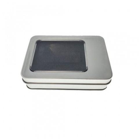 Cutie personalizabila Platinet Pendrive Box 45174, 107x72x30mm, pentru memorie USB, metalica, capac cu fereastra, argintie - PBOX20