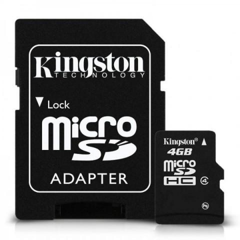 Micro Secure Digital Card Kingston, 4GB, Clasa 4, adaptor SD