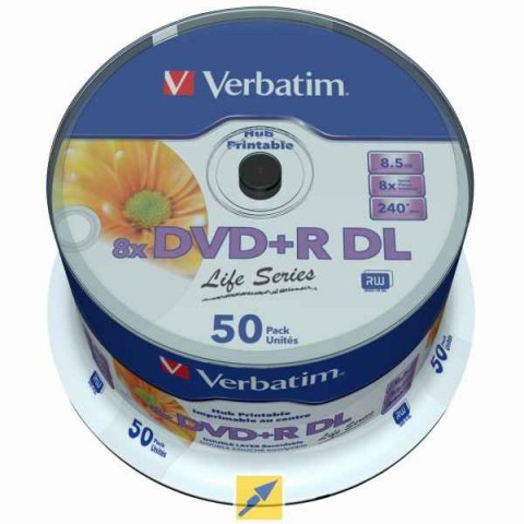 DVD+RDL Verbatim cake 50 printabil Data Life