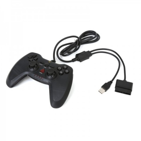 Gamepad Omega WARRIOR 3IN1 cu fir, negru, PS3/PS2/PC,  USB